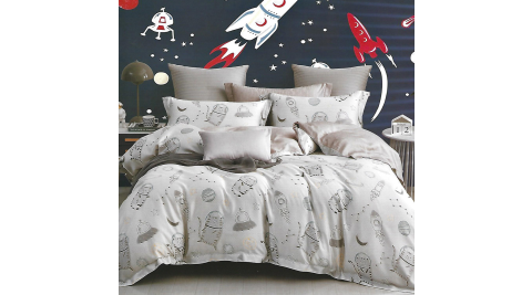 LAMINA 喵遊太空 雙人100%天絲四件式兩用被套床包組