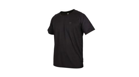 FIRESTAR 男吸濕排汗剪接圓領短袖T恤-慢跑 路跑 運動上衣 黑@D0533-10@