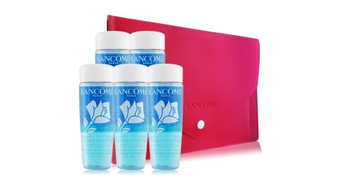 LANCOME 蘭蔻 快速眼唇卸妝液(30ml)X5+法式桃紅化妝包