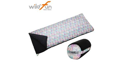【WildFun 野放】夏季(輕巧)舒適抗菌睡袋 15℃-20℃ 喵星人印花 露營睡袋/三季睡袋
