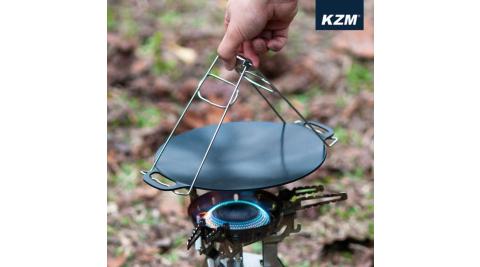 【KAZMI】KZM 黑皮不沾迷你烤盤含收納袋 烤盤 高級陶瓷塗層 露營 烤肉