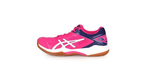 ASICS GEL-COURT HUNTER 女羽球鞋-2E-寬楦 亞瑟士 桃紅丈青白@1072A015-500@