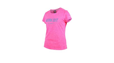 FIRESTAR 女吸濕排汗圓領短袖T恤-慢跑 路跑 螢光粉丈青@DL962-45@