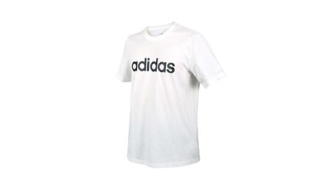ADIDAS 男短袖T恤-純棉 愛迪達 慢跑 路跑 上衣 休閒 白黑@GL0058@