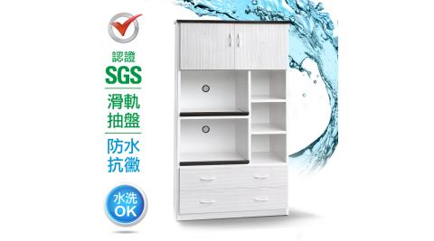 IHouse-SGS 防潮抗蟲蛀緩衝塑鋼二門四抽二拖置物電器櫃(寬93.5深49高180CM)
