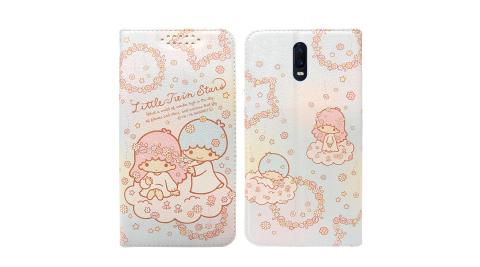 三麗鷗授權 Kikilala 雙子星 OPPO R17 粉嫩系列彩繪磁力皮套(花圈)