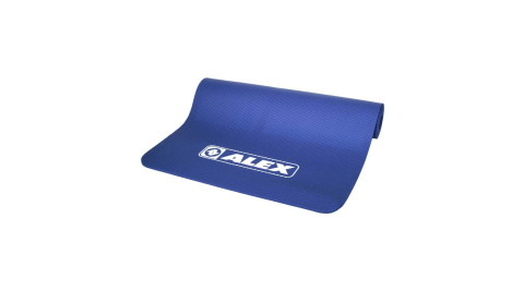 ALEX 專業瑜珈墊-台灣製 有氧 塑身 地墊 止滑墊 附收納袋 SGS認證 深藍白@C-1812-1@