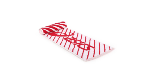ASICS 運動毛巾-純棉 台灣製 慢跑 路跑 海邊 戲水 浴巾 亞瑟士 白紅@Z12001-23@