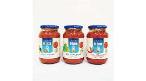 2罐任選組【得科 DE CECCO】西西里/番茄香料辣味/拿坡里 義大利麵醬 400g/罐