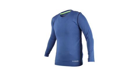 FIRESTAR 男機能緊身長袖上衣-長T T恤 訓練 慢跑 路跑 深藍@N7908-97@