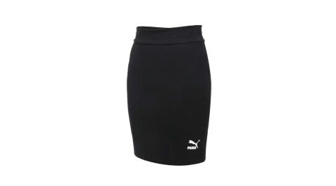 PUMA 女CLASSICS短裙-歐規 休閒 A字裙 裙子 窄裙 針織 黑白@59959601@