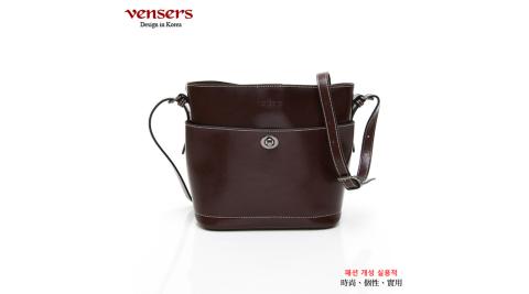 【vensers】小牛皮潮流個性斜肩背包(NL1082101咖啡)