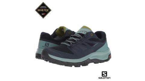 【SALOMON 索羅門】Salomon 女 WIDE 寬楦 OUTline Prism GTX 低筒登山鞋 翠莉絲/藍/梨綠 爬山 健行鞋