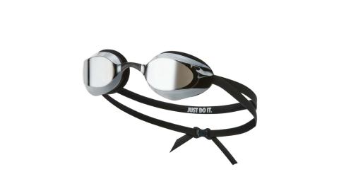 NIKE SWIM 成人專業型鏡面泳鏡-抗UV 防霧 蛙鏡 游泳 戲水 黑白@NESSA176-040@