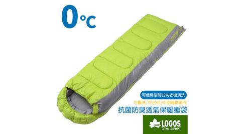 【日本 LOGOS】新改款 丸洗 0℃ 0度加長加大抗菌防臭透氣保暖棉被睡袋(可機洗)_綠 72600890