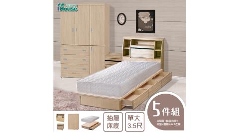 IHouse-秋田 日式收納房間5件組(床頭箱+床墊+三抽收納+邊櫃+4x7衣櫃)-單大3.5尺