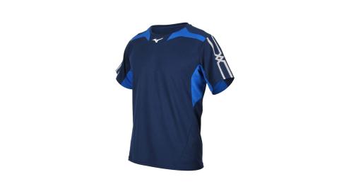 MIZUNO 男短袖T恤-運動上衣 咖啡紗 抗紫外線 美津濃 丈青藍白@32TA000314@