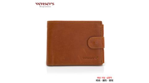 【vensers】小牛皮潮流個性皮夾(NB0500101土黃短夾)