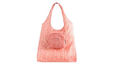 【新春大促】COACH 蛇紋子母輕巧收納購物袋(粉橘)
