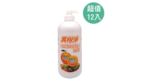 真柑淨 1000ML橘油碗盤蔬果洗潔液 12入 079K-F1072