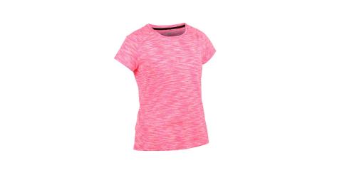 FIRESTAR 女彈性短袖圓領T恤-慢跑 路跑 螢光粉白@DL964-18@