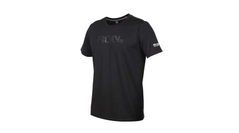 FIRESTAR 男吸濕排汗印花圓領短袖T恤-慢跑 路跑 運動上衣 黑@D0535-10@