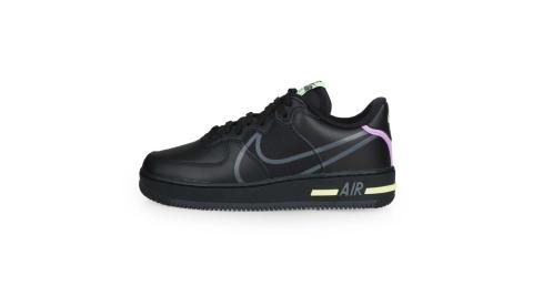 NIKE AIR FORCE 1 REACT 男休閒鞋-經典 皮革 AF1 復古 黑紫粉綠@CD4366001@