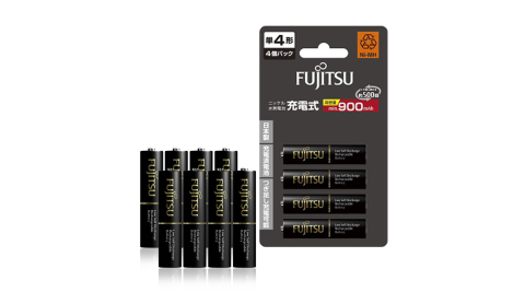日本富士通 Fujitsu 低自放電4號900mAh鎳氫充電電池 HR-4UTHC (4號8入)送電池盒