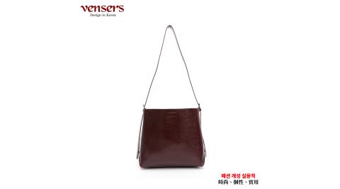 【vensers】小牛皮潮流個性肩背包(NL068102咖啡)