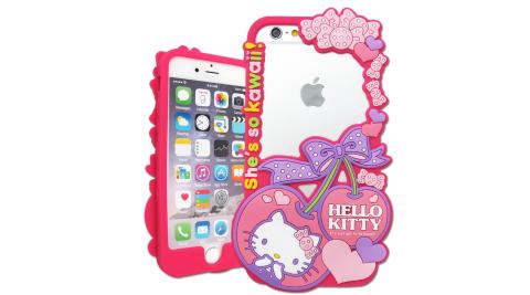三麗鷗SANRIO正版授權 Hello Kitty iPhone 7 / 6s / 6 4.7吋 花漾鏤空軟膠套(櫻桃)