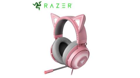 Razer 雷蛇 北海巨妖 發光電競耳機麥克風 Kitty 粉