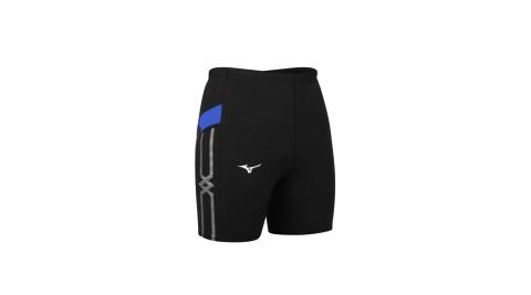 MIZUNO 男緊身短褲-台灣製 三分褲 慢跑 路跑 束褲 美津濃 黑藍白@U2TB1G0309@