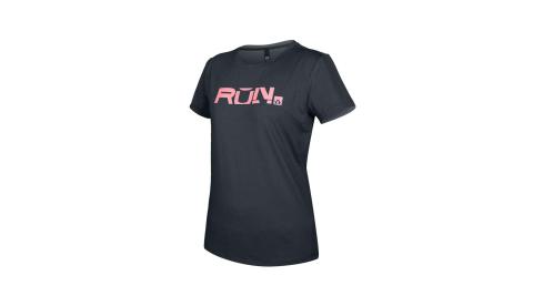 FIRESTAR 女款彈性印花圓領短袖T恤-吸濕排汗 慢跑 路跑 上衣 深灰粉@DL063-19@