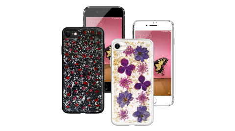 CITYBOSS for iPhone SE2 4.7吋 繽紛星夜全包防滑保護殼-金色飛燕/碎紅