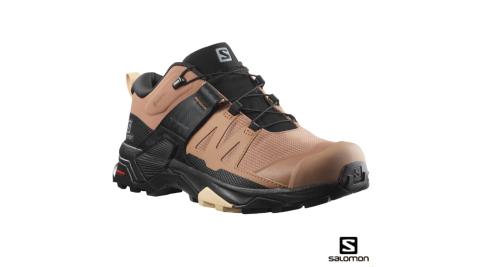 【Salomon】登山鞋 女 X ULTRA 4 低筒 GORETEX 防水 烏木黑摩卡棕杏仁粉 健行鞋