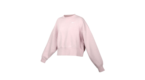 NIKE 女長袖T恤-刷毛 保暖 休閒 寬版 上衣 大學T 芋紫白@CK0169-645@