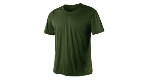 INSTAR 男女涼感短T恤-0秒吸排抗UV輕量吸濕排汗 軍綠@3103912@