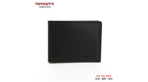【vensers】小牛皮潮流個性皮夾(NB368201黑色短夾)