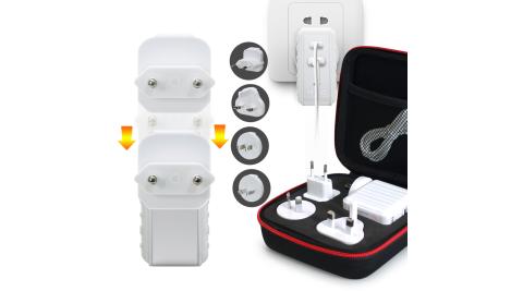 MINIQ 專為旅行設計全球通用萬用充電器AC-DK50T Type-C PD+QC3.0+萬能多國轉換插頭-白
