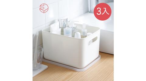 本月特談【日本霜山】無印風霧面附蓋把手收納盒-L-3入