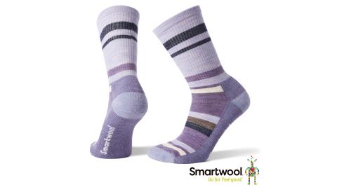 【SmartWool 智慧羊毛】羊毛襪 女款 輕量減震徒步中長襪 淺紫 登山襪 健行襪 羊毛襪 襪子 SW001395A26