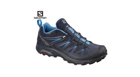 【SALOMON 索羅門】男鞋 X ULTRA 3 GTX 低筒登山鞋 墨黑/夜空藍 gore-tex 防水 L40242300