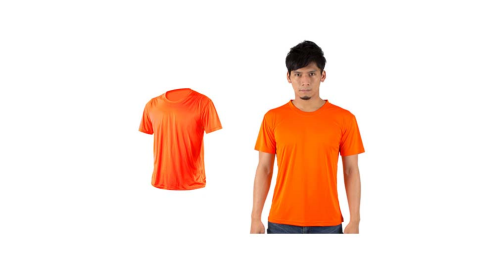 HODARLA 激膚無感衣 男女涼感短T恤-0秒吸排抗UV輕量吸濕排汗 陽光橘@3103915@