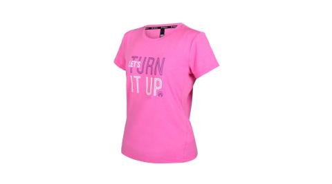 FIRESTAR 女彈性印花圓領短袖T恤-運動 慢跑 路跑 上衣 吸濕排汗 亮桃紅白@DL166-45@