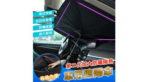 【DaoDi】第二代加大防曬隔熱車用遮陽傘2入組擋風玻璃遮陽尺寸大號/小號任選