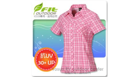 【FIT】女新款 格紋吸排抗UV短袖襯衫/立領.透氣.吸濕.輕量.涼爽/ FS2202 粉紅色