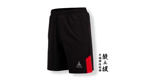 HODARLA 男-競技平織彈性短褲-慢跑 路跑 台灣製 黑紅@3139001@