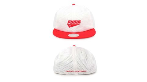 PUMA 基本系列蓋帽-遮陽 防曬 鴨舌帽 帽子 白紅@02191303@
