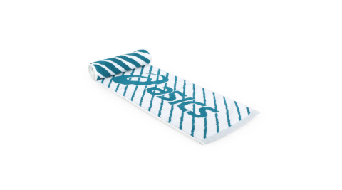 ASICS 運動毛巾-純棉 台灣製 慢跑 路跑 海邊 戲水 浴巾 亞瑟士 白鴨綠@Z12001-80@