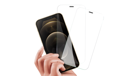 City Boss for iPhone 12 Pro Max 6.7吋 無孔防塵防水滿版鋼化玻璃貼-2 張入